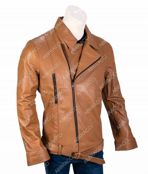 Mens Lapel Collar Style Brown Leather Jacket