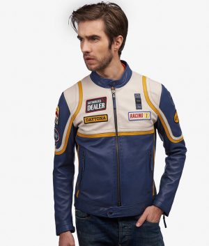 Mens Slimfit Cafe Racer Style Lemon Color Biker Leather Jacket