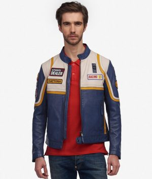 Davenport Mens Cafe Racer Style Lemon Color Biker Leather Jacket