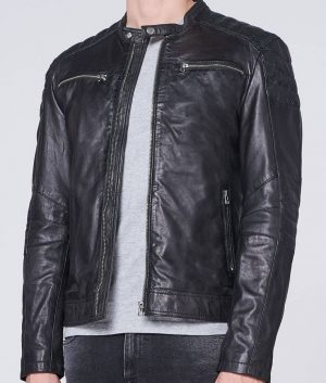 David Mens Mandarin Collar Padded Shoulders Leather Jacket