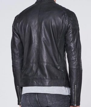 David Mens Mandarin Collar Padded Shoulders Black Leather Jacket