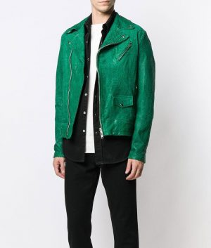 Mens Lapell Collar Snakeskin pattern Leather Jacket