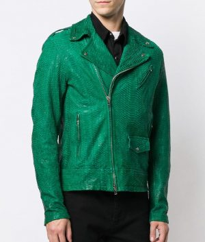 Decosta Mens Snakeskin pattern Leather Jacket