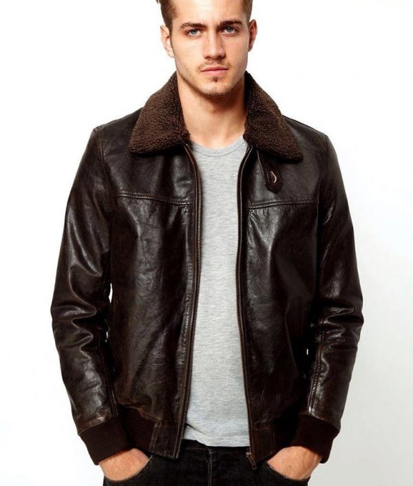 Defilippo Mens Liam Metallic Faux Fur Pilot Brown Leather Jacket