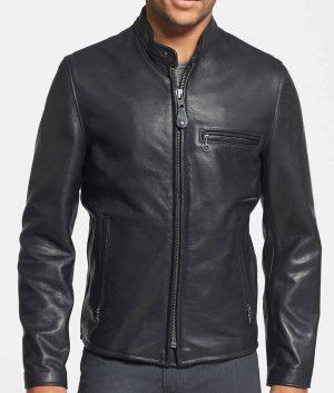 Duarte Mens Slimfit Cafe Racer Style Black Cowhide MOto Jacket