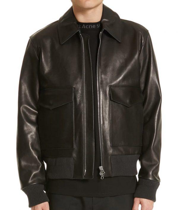 Dvorak Mens Turn Down Collar Slimfit Leather Jacket