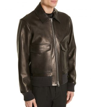 Mens Turn Down Collar Slimfit Brown Leather Jacket