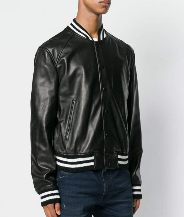 Mens Mandiran Collar Black Bomber Leather Jacket