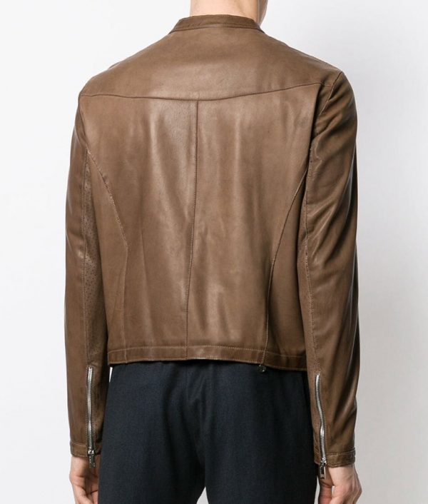 Mens Slimift Classic Biker Brown Leather Jacket