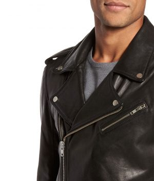 Mens Lapel Collar Slimfit Casual Style Black Biker Leather Jacket