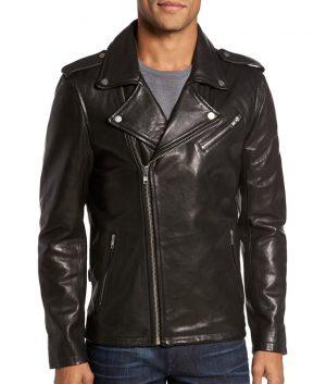 Edward Mens Lapel Collar Casual Style Black Biker Leather Jacket