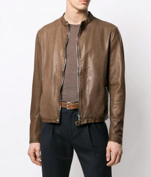 Edward Mens Slimift Classic Biker Leather Jacket