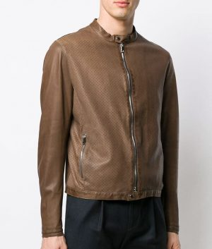 Edward Mens Classic Biker Brown Leather Jacket