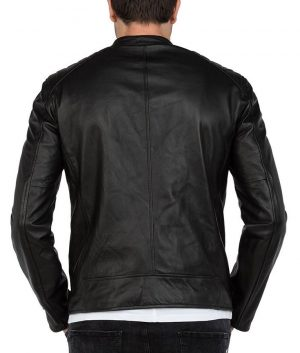 Eric Mens Mandiran Collar Slimfit Casual Style Black Leather Jacket