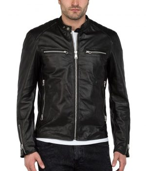 Eric Mens Mandiran Collar Slimfit Black Leather Jacket