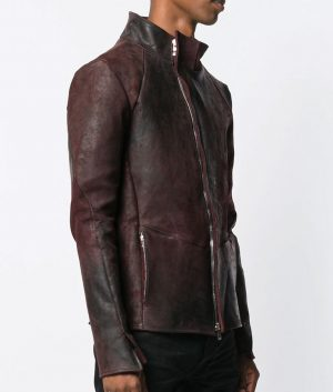 Mens Casual Style Maroon Leather Jacket