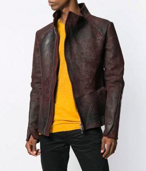 Erickson Mens Casual Style Maroon Leather Jacket
