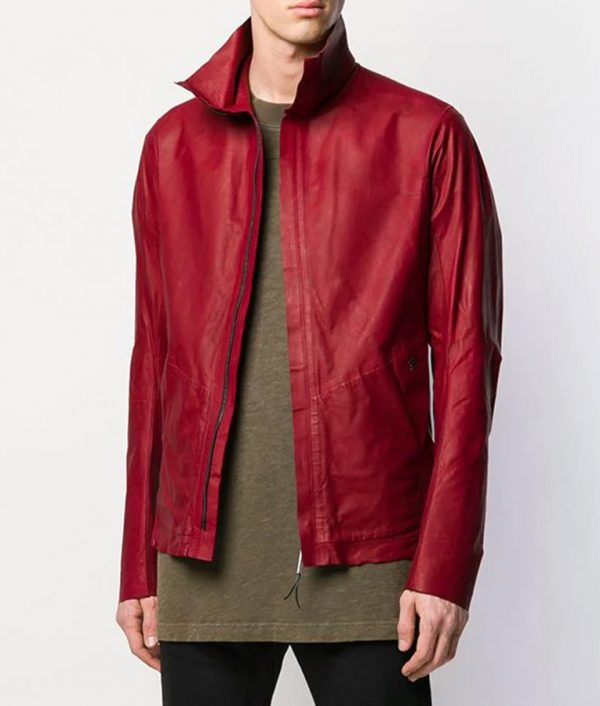Mens Turn Down Collar Red Calf Leather Zipped Up Jacket