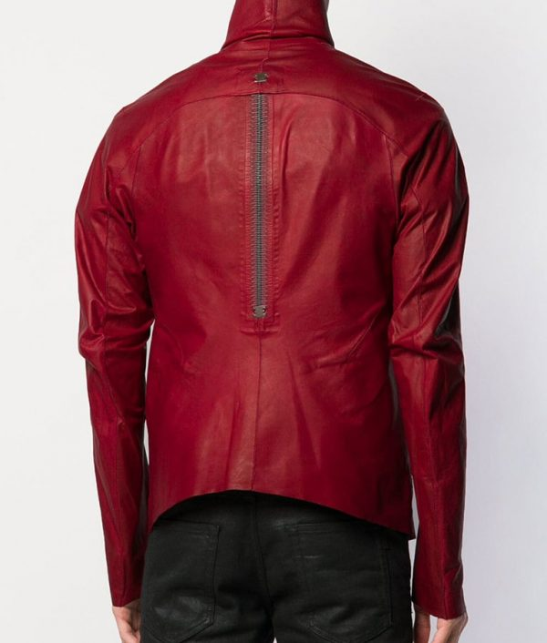 Flora Mens Turn Down Collar Red Calf Leather Zipped Up Jacket