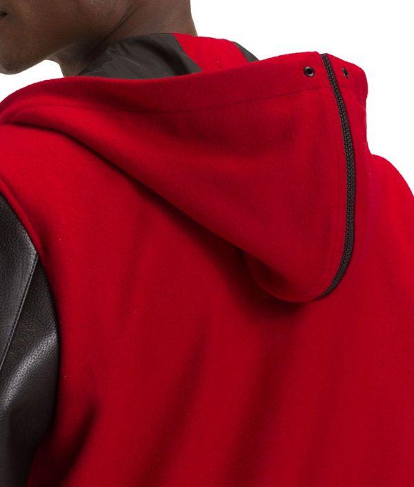 Mens Hooded Varsity Red Bomber Leather Jacket