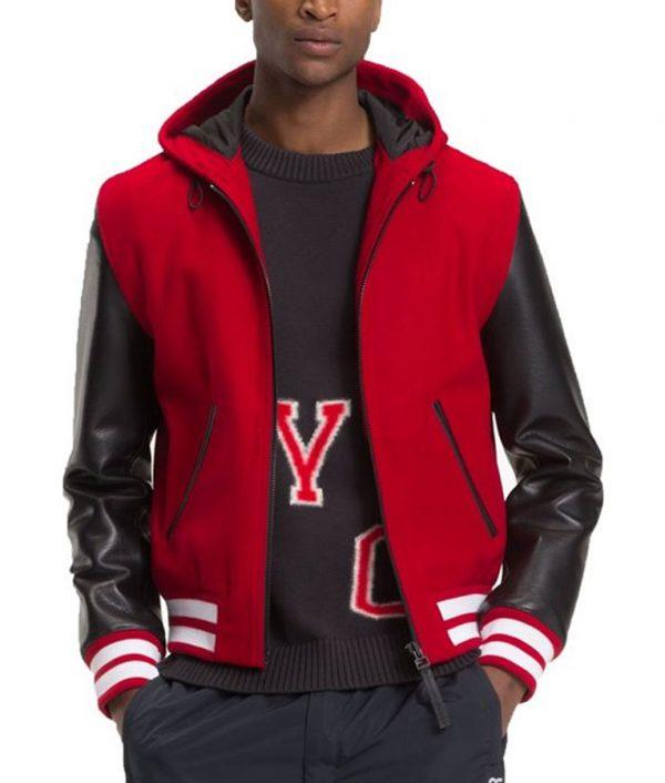 Frank Mens Hooded Varsity Red Bomber Leather Jacket