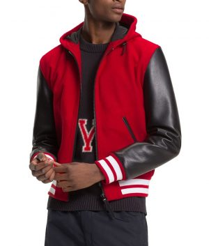 Frank Mens Hooded Red Bomber Leather Jacket