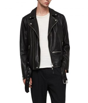 Fred Mens Lapel Collar Slimfit Motorcycle Leather Jacket