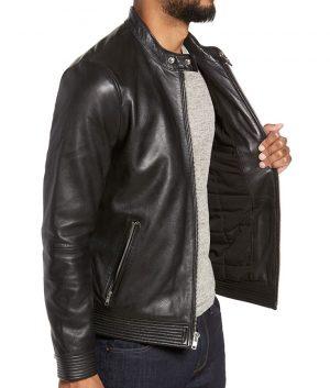 Fulton Mens Slimfit Cafe Racer Casual Leather Jacket