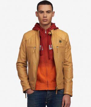 Mens Slimfit Padded Shoulder Cafe Racer Style Sunflower Leather Jacket