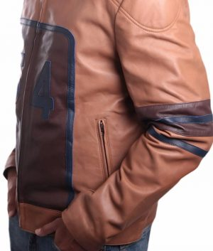 Genaro Mens Cowhide Racing Leather Jacket