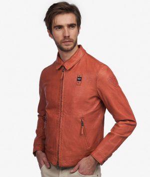 Gwyn Mens Slimfit Turn Down Collar Leather Jacket