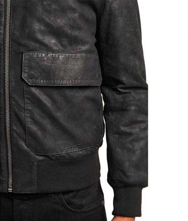 Haugen Mens Shearling Collar Washed Leather Sheepskin Jacket