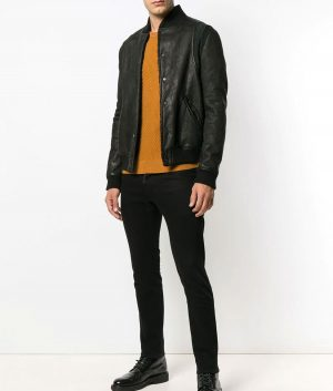 Mens Slimift Casual Style Black Bomber Leather Jacket