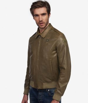 Higham Mens Collar Slimfit Dust Green Leather Jacket