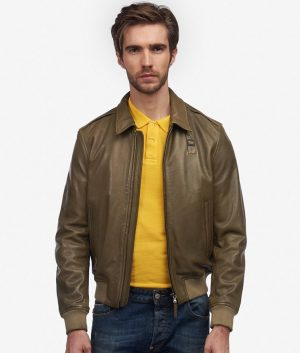 Higham Mens Turn Down Collar Dust Green Leather Jacket