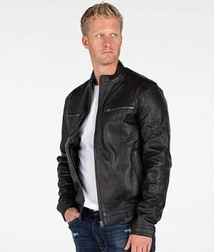 Hoke Mens Mandiran Collar Slimfit Black Cafe Racer Leather Jacket