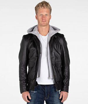 Holt Mens Lambskin Hooded Leather Slimfit Bomber Jacket