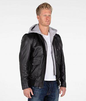 Holt Mens Lambskin Hooded Leather Black Bomber Jacket