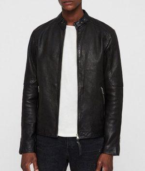 Mens Mandiran Collar Cafe Racer Style Jet Black Leather Jacket
