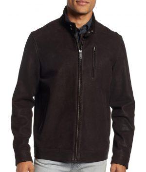 Janney Mens Turn Down Collar Slimfit Cafe Racer Style Brown Jacket