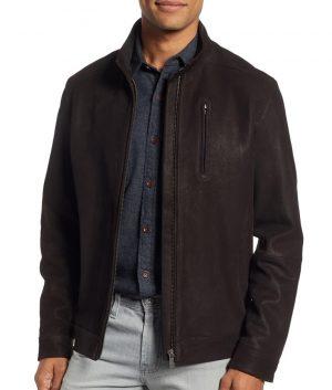 Janney Mens Turn Down Collar Slimfit Cafe Racer Style Jacket