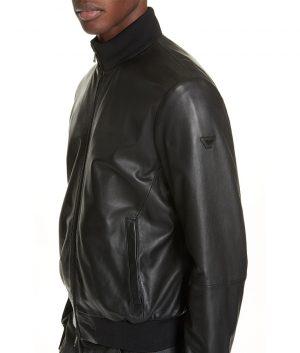 Mens Slimfit Mandiran Collar Black Cafe Racer Bomber Jacket
