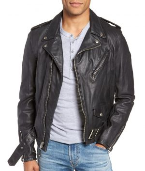 Jeffery Mens Lapel Collar Hand Vintaged Cowhide Leather Motorcycle Jacket