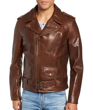 Johnson Mens Lapel Collar Brown Cowhide Leather Jacket