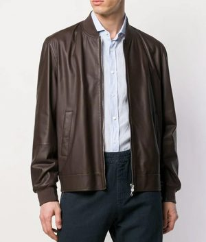 Mens George Casual Slimfit Brown Bomber Leather Jacket