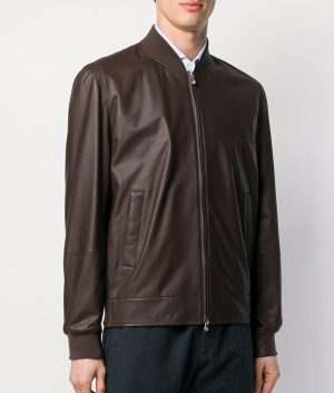 mp Mens George Casual Brown Bomber Leather Jacket