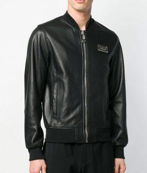 Mens Slimfit Cafe Racer Embroidered Logo Black Bomber Jacket