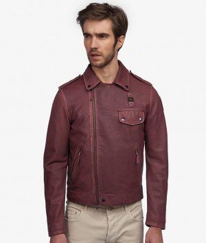 Lares Mens Turn Down Collar Slimfit Dark Brown Leather Jacket