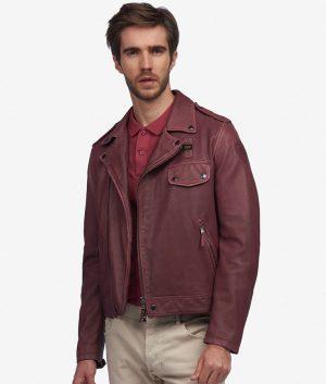 Lares Mens Turn Down Collar Slimfit Dark Leather Jacket