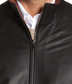 Legros Mens Slimfit Casual Style Black Cafe Racer Leather Jacket